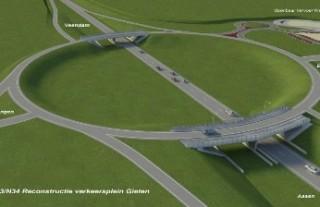 Reconstructie verkeersplein Gieten